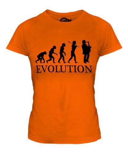 SAXOPHONE PLAYER EVOLUTION OF MAN LADIES T-SHIRT TEE TOP GIFT MUSICIAN