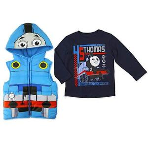 Thomas Friends Train Boy Costume Hooded Puffer Vest Jacket Ls Top