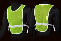Jogalite Men's Reflective Vest Lime Mesh White Stripe Running Reflexite
