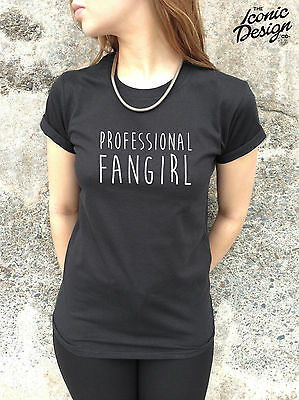 * Professional Fangirl Fan Girl Funny T-shirt Top 1d One Direction Bieber *