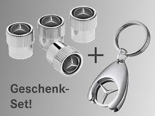 Orig. Mercedes-Benz 4 Ventilkappen Ventildeckel + Schlüsselanhänger Geschenk SET