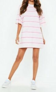 diversified in packaging lovely luster various styles Details about MISSGUIDED pink striped oversized t shirt dress UK 8 US 4 EUR  36 (fj151)