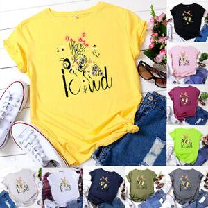 Bee-Kind-Print-Women-039-s-Fashion-Short-Sleeve-T-Shirt-Casual-Top-Tee