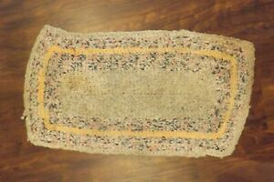 "Vintage Crocheted Rag Rug Rectangular Lancaster County ~33x18"""