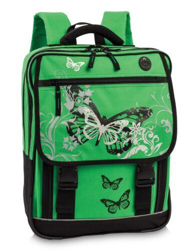 Fabrizio Schulranzen butterfly grün Schulthek Schule Schulrucksack Schmetterling