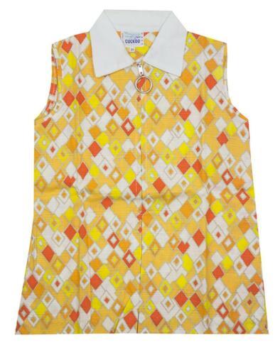 Girls Diamond Print Summer Zip up Sleeveless Sun Dress Baby 6 to 18 Months