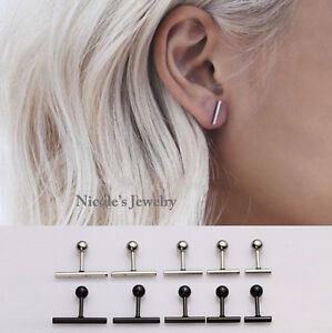 Cool-Unisex-Pair-Surgical-Steel-Earrings-Line-Stick-Men-Women