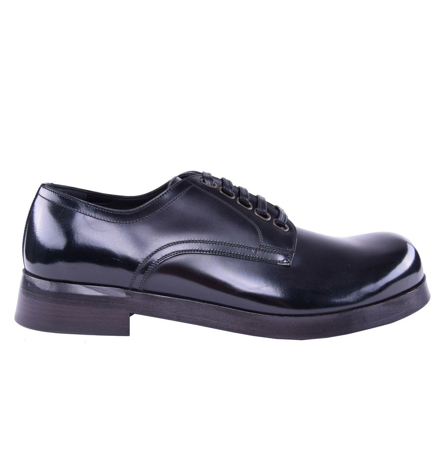 DOLCE & GABBANA RUNWAY Solid Patent Leather Shoes Black 03883
