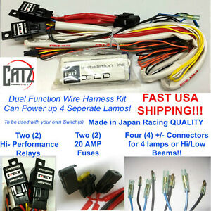 LED Dual Fog Light Wire Harness w/ 2 Relay & 2 Fuse Uses 4 fog lamps