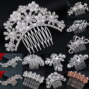 Flower-Wedding-Bridal-Hair-Accessories-Side-Comb-Hair-Clips-Pins-Crystal-Pearls