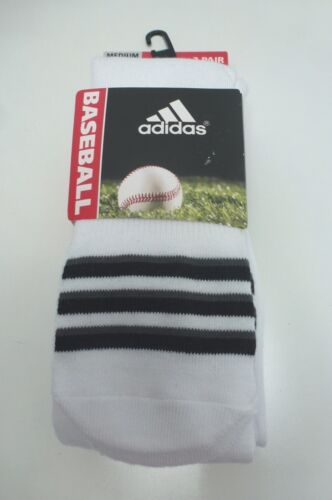ADIDAS Baseball Athletic Sock*Cushioned 2 Pairs*White Green Yellow Red Black New