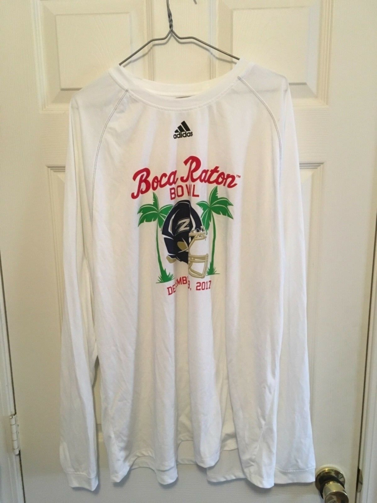 Adidas Team Issued White Long Sleeve T-shirt - New - Boca Raton Bowl - Akron