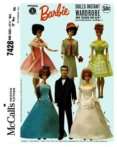 McCall-039-s-Barbie-Doll-039-s-Wardrobe-and-Tuxedo-For-Ken-Fabric-Sewing-Pattern-7428