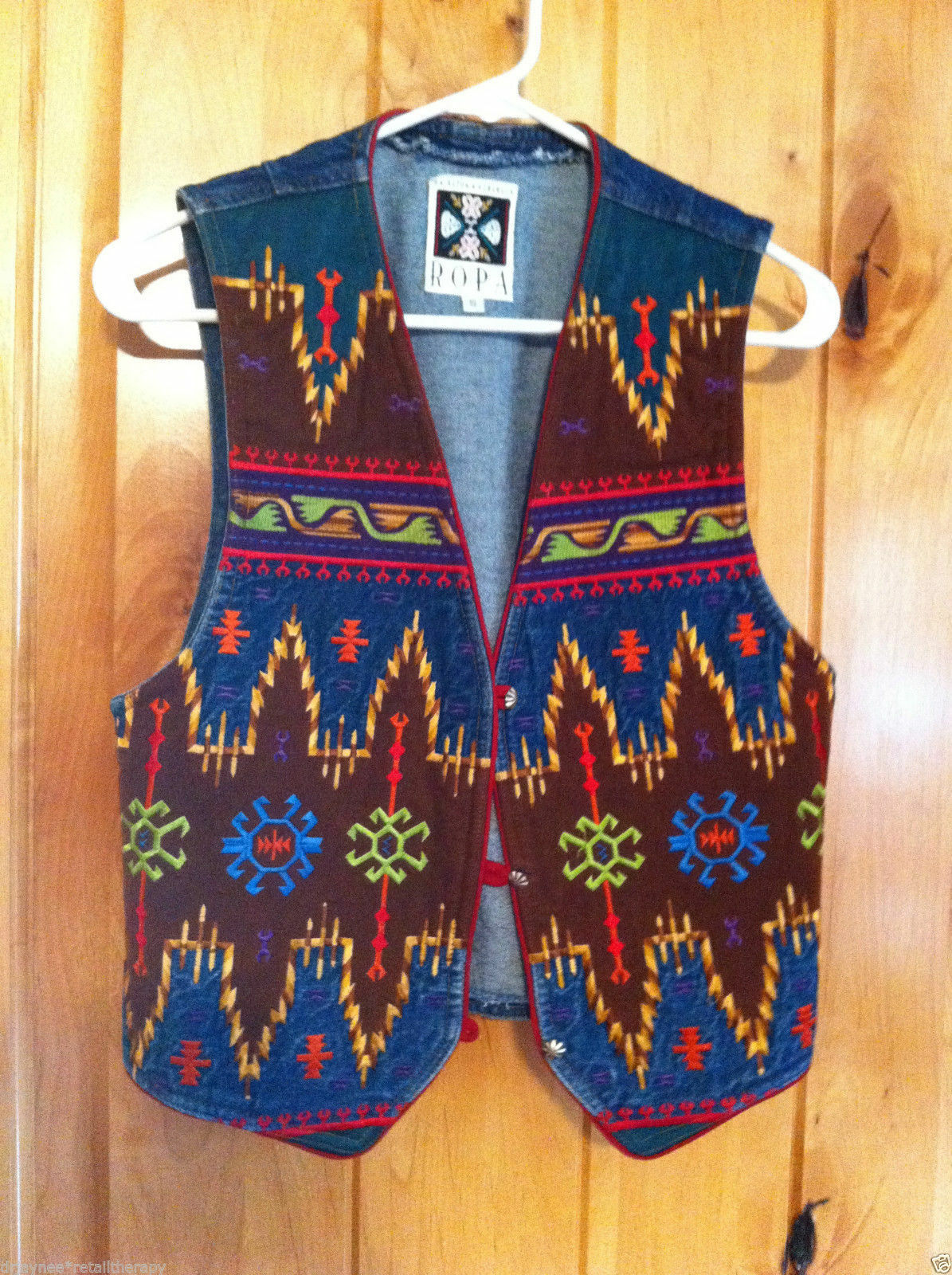 Ropa by Hairston & Roberson Denim Embroidered Vest Size Small