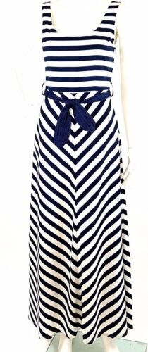 Pinkyotto Collection Dress SMALL Maxi Navy White S