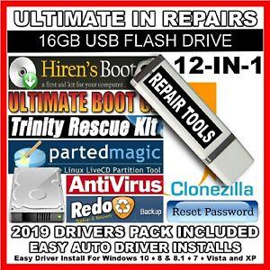 12 In 1 Hiren S Boot Hirens Bootable 16gb Usb Repair Toolkit