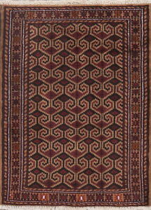 Geometric-Balouch-Afghan-Oriental-Area-Rug-Wool-Hand-Knotted-Foyer-Carpet-3-039-x4-039