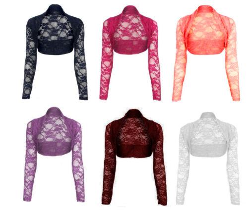 Womens Ladies Lace Shrug Cardigan Bolero Crochet Cropped Top Size 8-14