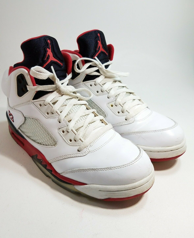 "2018 Nike Air Jordan 5 V Retro White/""Fire Red"" Size 10.5 136027-120"