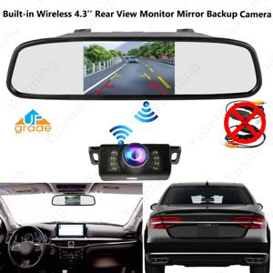 Built-in-Wireless-4-3-034-Car-Rear-View-Monitor-Mirror-Reverse-Backup-Monut-Camera
