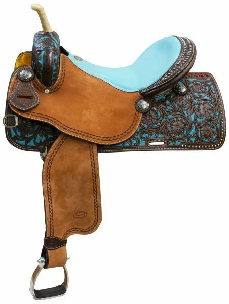 Leather Barrel Saddle  with Teal Painted Tooling Full QH Bars 14  15  16  NEW  fast delivery