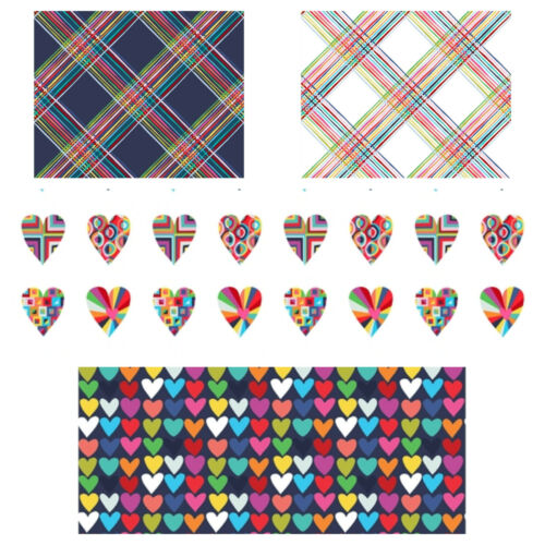 par Clothworks 100/% tissu de coton-Hearts /& Cross Hatch Heureux