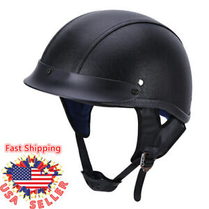 DOT-Retro-German-Black-Leather-Motorcycle-Half-Face-Helmet-Chopper-Cruiser-Biker