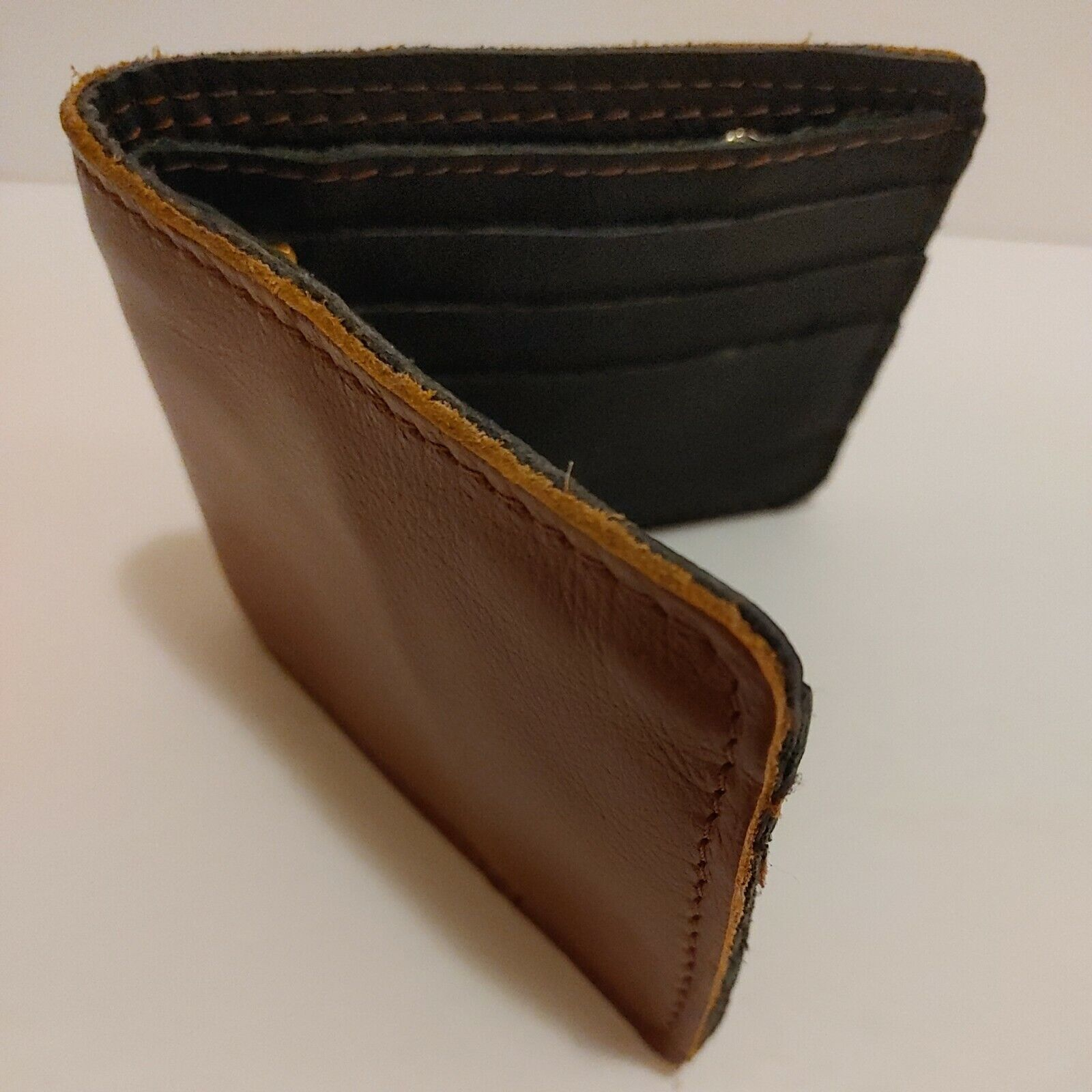 Leather Mens Wallet Strong Thick Leather Brown Bifold Brown Black Ex Cond b26