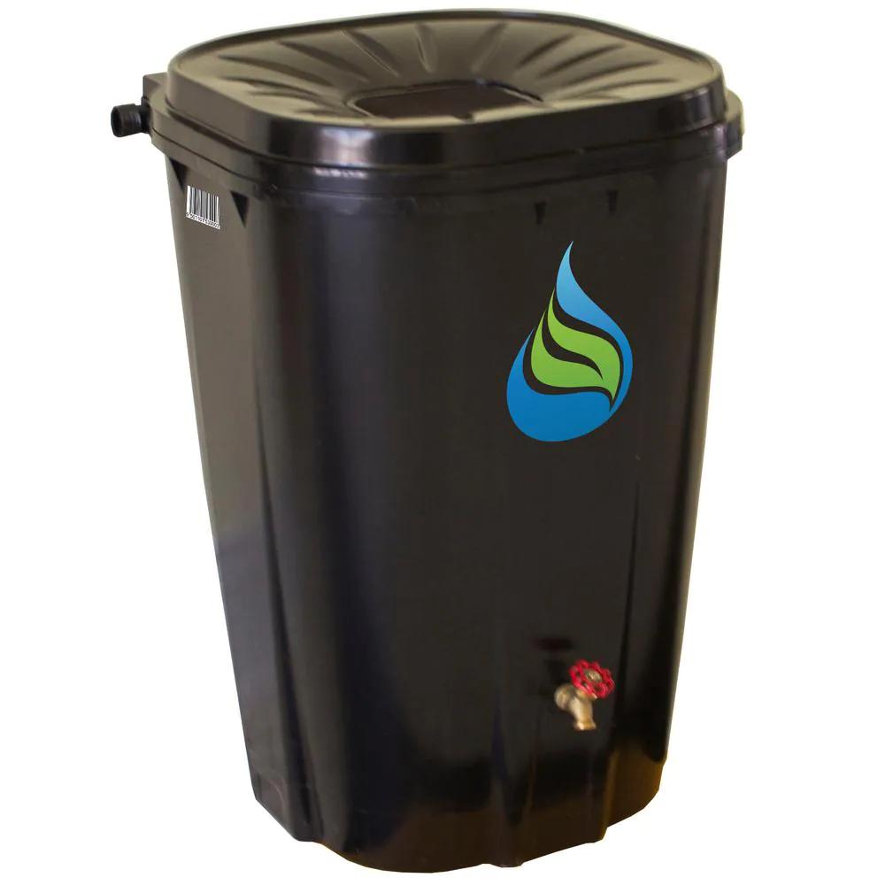 Black 55 Gal. Rain Barrel with Brass Spigot W Extension Hose Steel Screen Screws