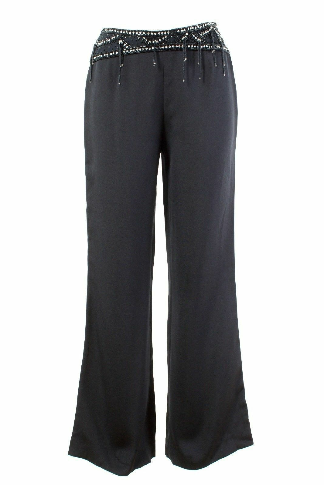 ESCADA Trousers Größe 34 XS 100% Silk Evening Trousers With Bead Embroidery Silk Pants