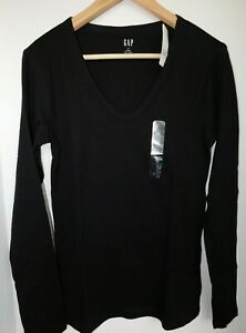 NWT-GAP-Women-039-s-Favorite-LS-V-Neck-T-Shirt-Black-Sizes-XS-amp-M-Free-Shipping-New