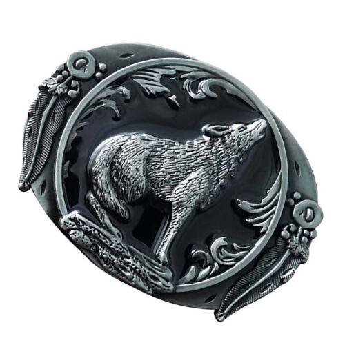 Wolf Howl Totem Pattern Zinc Alloy Cowboy Western Belt Buckle Men/'s Gift