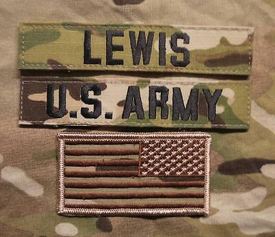 AnpassungsfäHig Us Army Multicam Ocp Uniform Klett Name Set Tab Patch Lewis Mit Usa Flagge