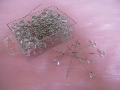"""100  2.5/"""" Diamante pins for weddings flowers buttonholes or crafts"""