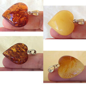 BALTIC-HONEY-or-CARVED-BUTTERSCOTCH-AMBER-STERLING-SILVER-HANDMADE-HEART-PENDANT