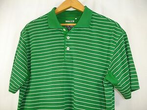 Adidas-Men-039-s-Green-White-Stripe-Climacool-Golf-Short-Sleeve-Polo-Shirt-M