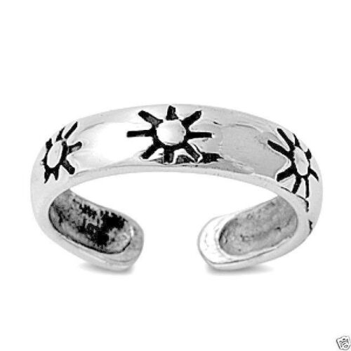 USA Seller Sun Toe Ring Sterling Silver 925 Fashion Beach Adjustable Jewelry