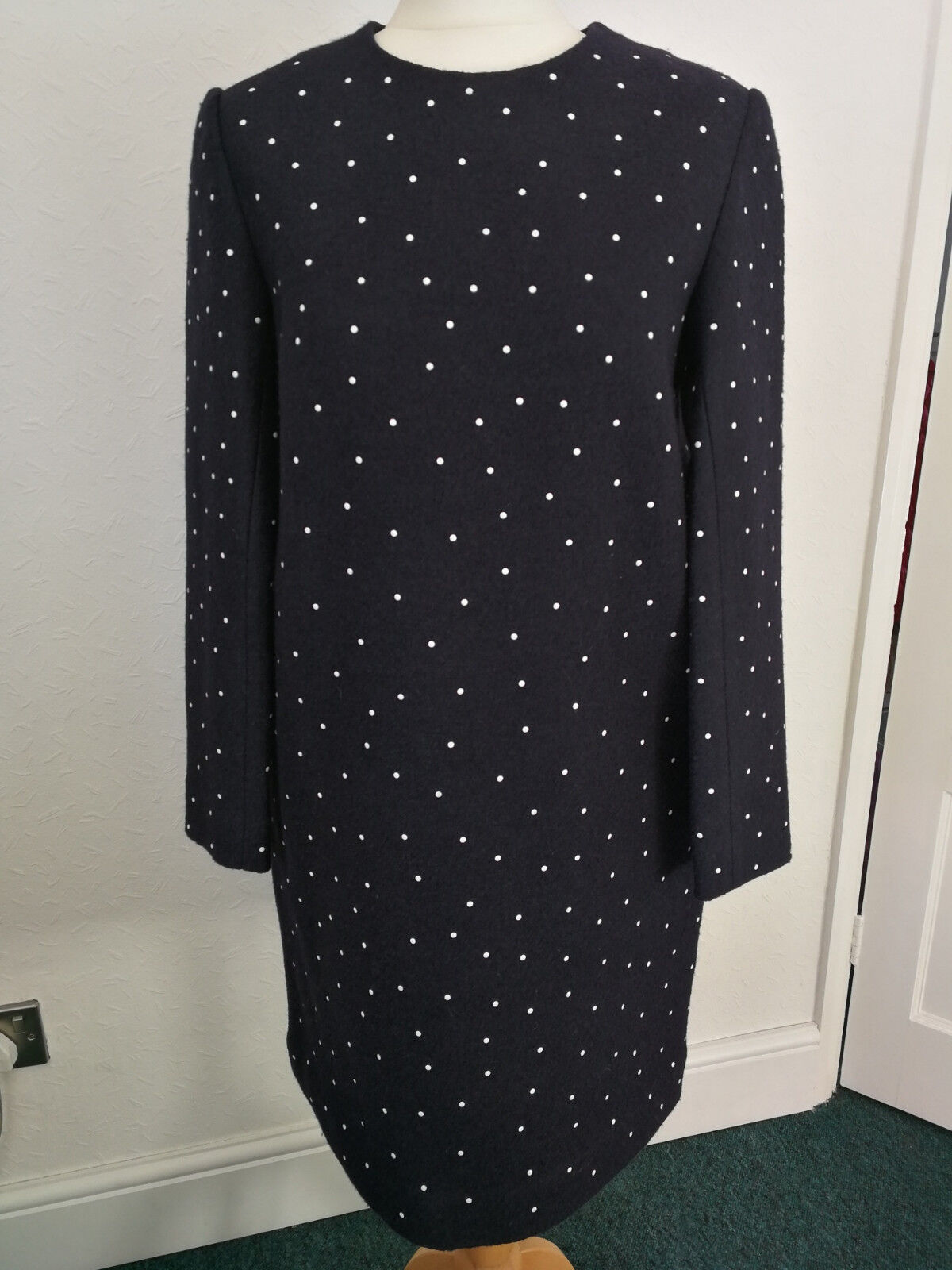 COS NAVY BOILED WOOL SHIFT DRESS WHITE SPOTS LONG SLEEVE WINTER 40 EU M UK