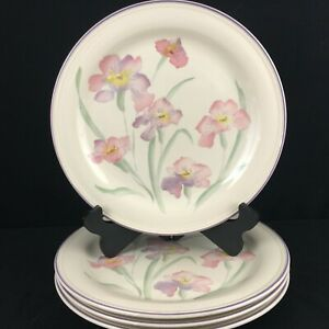 Set-of-4-VTG-Dinner-Plates-by-Sango-Windsor-Sangostone-Pink-Floral-3647-Korea