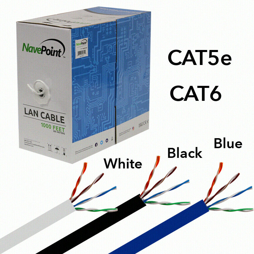 CAT5E 1000FT UTP SOLID LAN NETWORK ETHERNET CABLE RJ45 BULK WIRE CAT5 BLUE