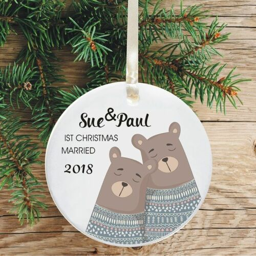 First Christmas Married Keepsake Decoration Bear Jumpers Design