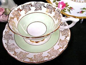Royal Stafford tea cup and saucer lime green bands & gold gilt work teacup wide