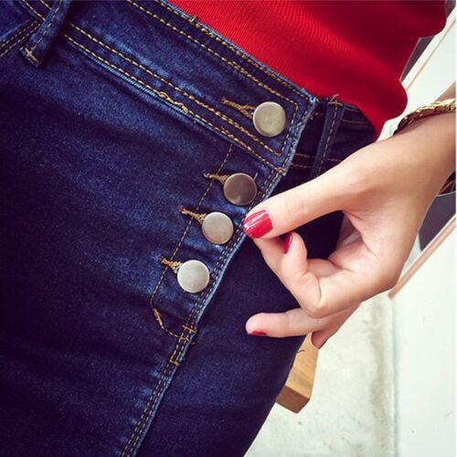 Women Denim Blue Stretch Skirt Calf Length Side Split Front Button Up Pegged