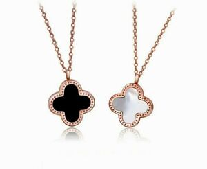Rose Gold Flower Four Leaf Lucky Clover White Pearl Black Pendant Chain Necklace Ebay