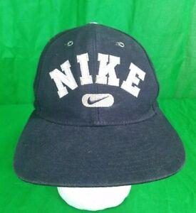 7f6bec1de87 Image is loading Vintage-Nike-Swoosh-Hat-Distressed-Black-Snapback-Cap
