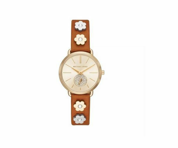 3e6f028a1ea6 Michael Kors Women s Portia Gold Tone Floral Brown Leather Watch MK2727  28mm for sale online