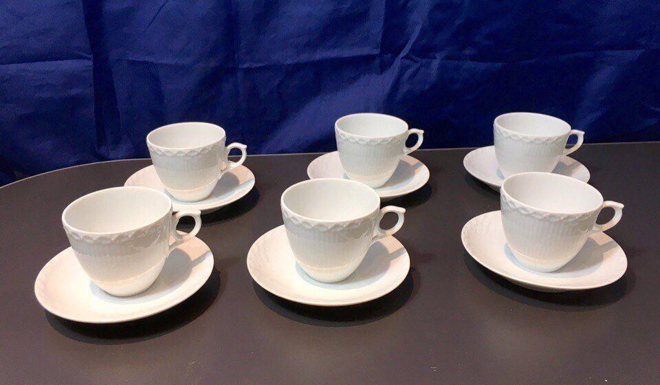 Royal Copenhagen blanc Half Lace 6 pcs Espresso cups & saucers - 1128053 - NEW -