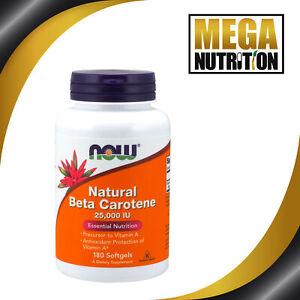Now Foods Natural Beta Carotene 25 000iu 180 Softgels Antioxidant Vitamin A 733739003225 Ebay