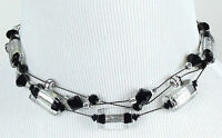 Dabby Reid Black Silver Lampwork 3 Strand Necklace Rmn6105b, Hand Crafted