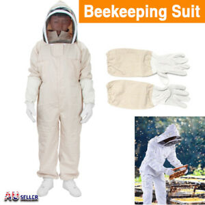 Full-Beekeeping-Suit-Bee-Suit-Heavy-Duty-with-Leather-Ventilated-Keeping-Gloves